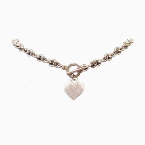 Short Necklace with Heart-Shaped Pendant in Sterling Silver