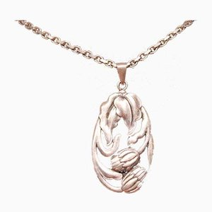 Silver Necklace with Large Pendant with Floral Motif