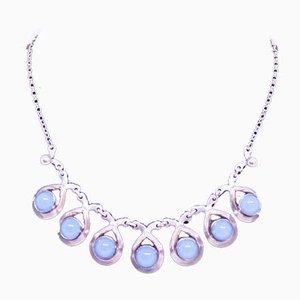925 Sterling Silber Halskette mit Aquamarin verziert
