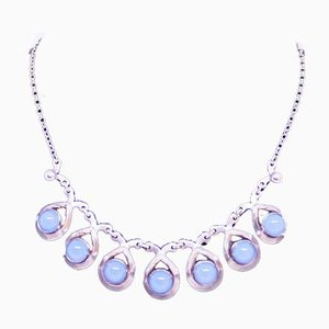 925 Sterling Silver Necklace Decorated with Aquamarine