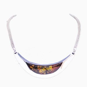 Silver Necklace with Large Oblong Pendants of Silver and Amber