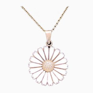 Necklace in Gold-Plated 925 Sterling Silver & Daisy Pendant in White Enamel from Ka.La
