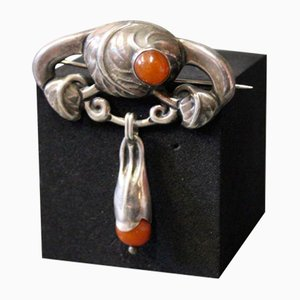 830 Silver Brooch with Polished Amber from Chr. J