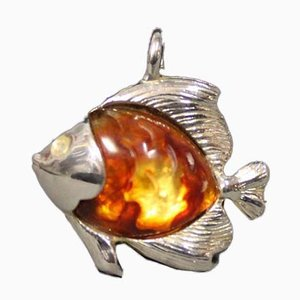 Silver Pendant in the Shape of a Fish in Amber by EN