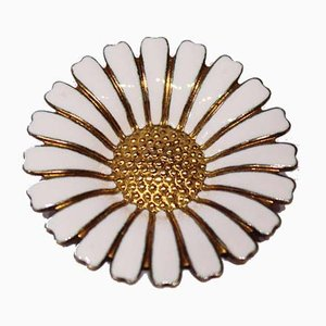 Daisy Brooch in Gold-Plated 925 Sterling Silver and Enamel by Volmer Bahner for VB