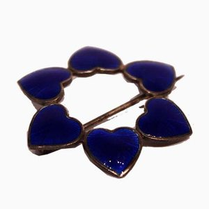 Brooch Decorated with Blue Hearts in 925 Sterling Silver from WKK