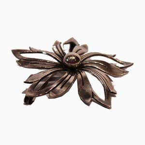 Brooch in the Shape of a Flower in Sterling Silver by N.E. From