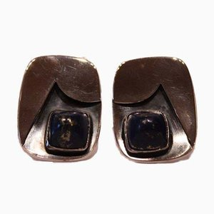 Silver Cufflinks with Blue Stone from Lintrup, Set of 2