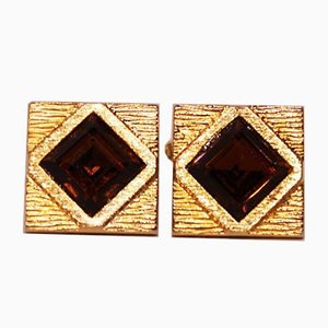 Gold-Plated Cufflinks with Dark Brown Stone, Set of 2