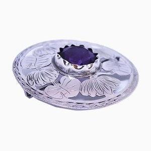 Round 830 Silver Brooch with High Purple Synthetic Rock