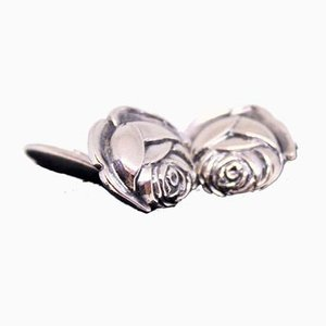 830 Silver Cufflinks Shaped Like Roses, Set of 2