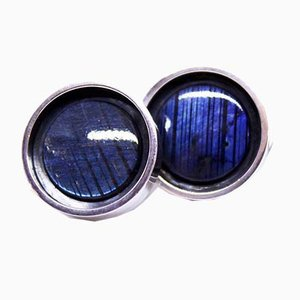 Silver Cufflinks Decorated with Blue Stone from Finland, Set of 2