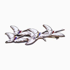 925 Sterling Silver & White Enamel the 5 Swans from the Nordic Countries Brooch by Erik Magnussen
