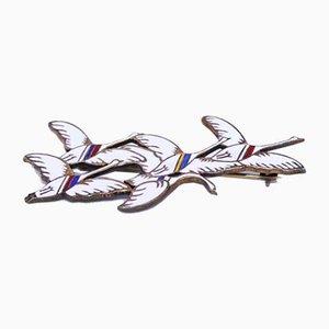 Spilla in argento sterling 925 e bianco a forma di 5 cigni della spilla dei Paesi Nordici di Erik Magnussen