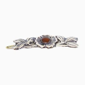Hair Clip in Silver with Carnelian