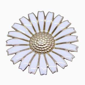 925 Sterling Silver and White Enamel Daisy Brooch by Georg Jensen