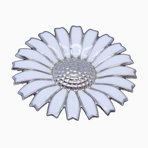 925 Sterling Silver and White Enamel Daisy Brooch by Georg Jensen
