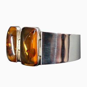 925 Silberarmband mit 2 großen bernsteinfarbenen Teilen