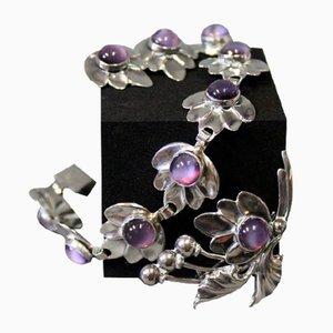 Bracelet, Boucles d'Oreilles et Broche en Argent Sterling avec Pierres Violettes de Brd. B
