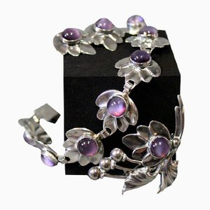 Bracelet, Earrings & Brooch Set in Sterling Silver with Purple Stones from Brd. B