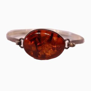 Bangle with Large Piece of Amber in 925 Sterling Silver from EF