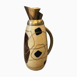 Mid-Century Modern Painted Wood and Brass Thermos Carafe by Aldo Tura, 1960s