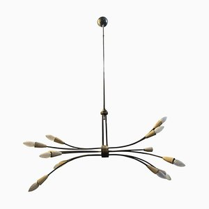 Mid-Century Modern Italian Brass Sputnik Chandelier in the Style of Stilnovo, 1950s