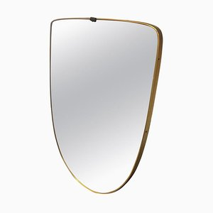 Mid-Century Modern Brass Shield Wall Mirror in the Style of Gio Ponti, 1950s