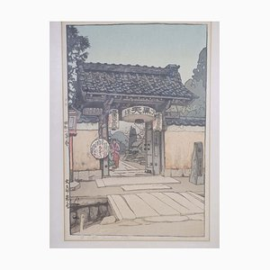 Vintage Japanese Shin Hanga Temple Woodblock Print with Jizuri Seal by Hiroshi Yoshida
