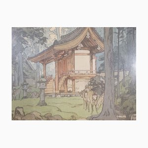 Vintage Temple in the Wood with Jizuri Seal by Hiroshi Yoshida