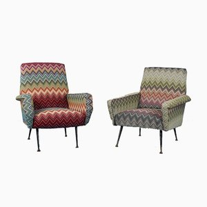 Vintage Missoni Fabric Lounge Chairs by Marco Zanuso, 1960s, Set of 2