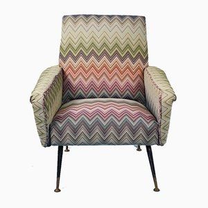 Vintage Missoni Fabric Lounge Chair by Marco Zanuso, 1960s
