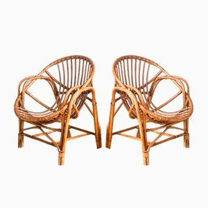 Spanish Cane Armchairs, 1960s, Set of 2