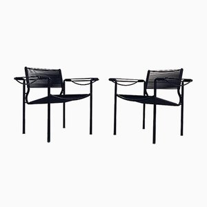 Black Scooby Armchairs by Giandomenico Belotti for Alias, 1970s, Set of 2