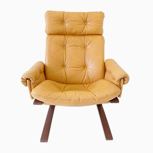 Kengu Honey-Colored Leather Lounge Chair by Elsa & Nordahl Solheim for Rybo Rykken & Co, 1960s