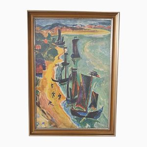Returned Boats Expressionistic Print by Max Pechstein, 1960s