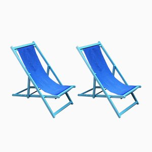 Deck Chairs with Wooden Structure and Blue Fabric, 1960s, Set of 2