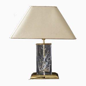 Lampada da tavolo vintage con vetro inciso, anni '70