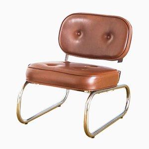 Vintage Spanish Skai, Iron & Chrome Armchair, 1970s