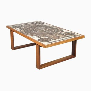 Vintage Teak Tiled Coffee Table by OX Art for Trioh, 1970s