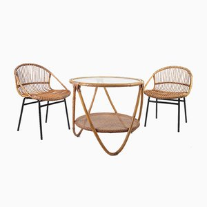 Mid-Century Bamboo Lounge Chairs & Table by Alan Fuchs for Uluv, 1960s, Set of 3