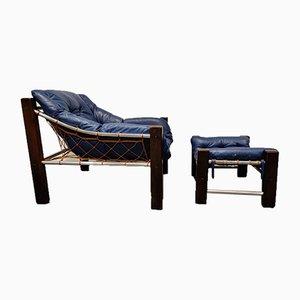 Captain Chair & Ottomane aus blauem Leder von Jean Gillon, 1960er, 2er Set