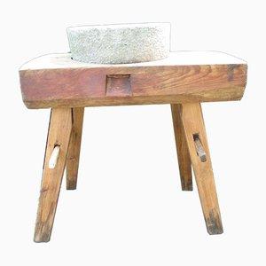 Antiker Vorkriegsgrast auf industriellem Tisch aus Eiche