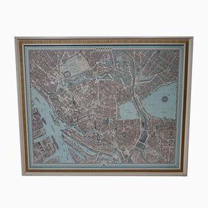 Large Vintage 3D City Map Hamburg Picture Print from Bollmann