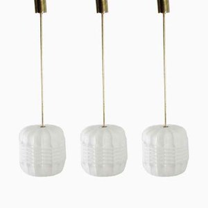 Mid-Century Opaline Glass and Brass Pendant Lamps from Napako, 1960s, Set of 3