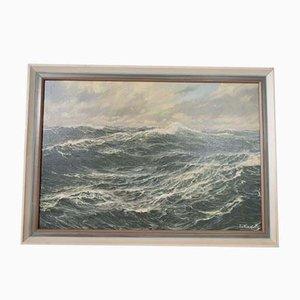 Stampa Mid-Century con disegno delle onde del mare di Patrick von Kalckreuth