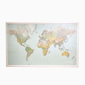 Large Vintage World Map Framed in Wood from Lufthansa