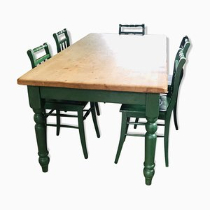 Antique Dining Table & Chairs Set