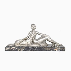 Art Deco Silver Bronze Woman Sitting at the Barzoï by D H Chiparus for Reveyrolis Editeurs, 1930s