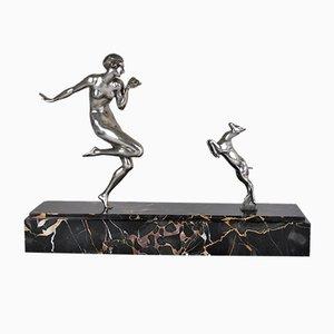 Art Deco Bronze Nude Dancer at La Chèvre Sculpture by Gautier, 1930s